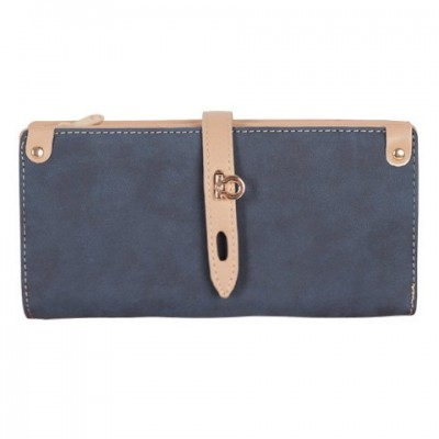 Fashion Women's Clutch Wallet With Hasp and Color Block Design red blue coffee