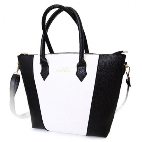 ... Fashion Women s Tote Bag With PU Leather and Letter Print Design black blue  white red ... 43f6ef76c6