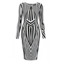 Fashionable Women's Jewel Neck Long Sleeve Striped Bodycon Dress black white