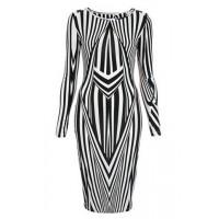 Fashionable Women's Jewel Neck Long Sleeve Striped Bodycon Dress black white