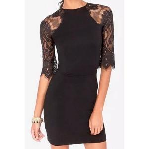 Fashionable Women's Round Neck 1/2 Sleeve Lace Splicing Dress black white