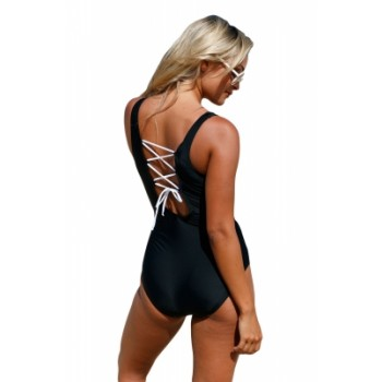 Girly Sailor Lace Up Back One Piece Bathing Suit