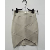 Glamous Bandage Bodycon Zippered Stretchy High-Low Hem Solid Color Skirt For Women gray black white yellow