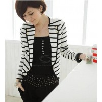Graceful Black-White Stripe Design Lapel Collar Long Sleeves Blazer For Women white