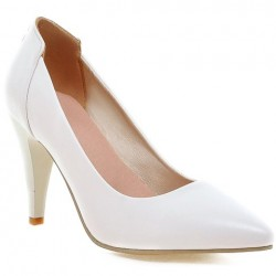 Graceful Women's Pumps With Stiletto Heel and Rivets Design White