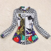 Graffiti Print Fashionable Turn-Down Collar Long Sleeve Women's Blouse