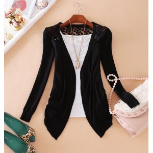 Hollow Out Design Long Sleeve Collarless Irregular Hem Cardigan For Women black green pink yellow