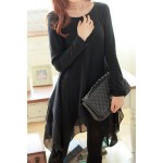 Irrgular Hem Spliced Casaul Scoop Collar Long Sleeve Women's Dress black
