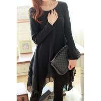 Irrgular Hem Spliced Casaul Scoop Collar Long Sleeve Women's Dress black
