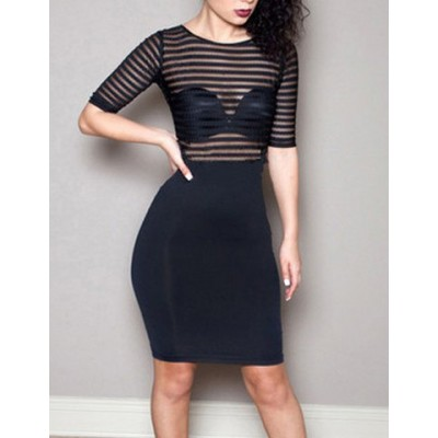 Jewel Neck Half Sleeves See-Through Sexy Dress For Women black