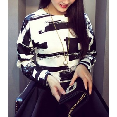 Jewel Neck Long Sleeves Abstract Printed Casual Top For Women black white