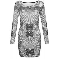 Jewel Neck Long Sleeves Animal Printed Stylish Dress For Women white