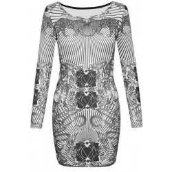 Jewel Neck Long Sleeves Animal Printed Stylish Dress For Women white