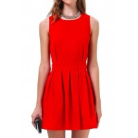 Jewel Neck Sleeveless Solid Color Backless Beam Waist Stylish Dress For Women red