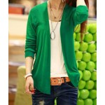Ladylike Long Sleeve Solid Color Cardigan For Women green blue pink red yellow