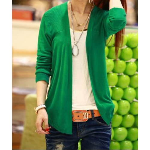 Ladylike Long Sleeve Solid Color Cardigan For Women green blue ...