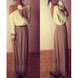 Ladylike One-Shoulder Long Sleeve Color Block Chiffon Backless Dress For Women white gray