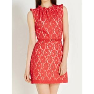 Ladylike Round Neck Sleeveless Slimming Lace Dress For Women red black