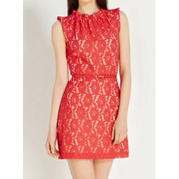 Ladylike Round Neck Sleeveless Slimming Lace Dress For Women red black
