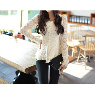 Ladylike Scoop Neck Flouncing Long Sleeves Lace Blouse For Women apricot