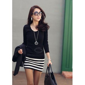 Ladylike Scoop Neck Stripes Skinny Long Sleeves Elegant Cotton Blend Dress For Women black