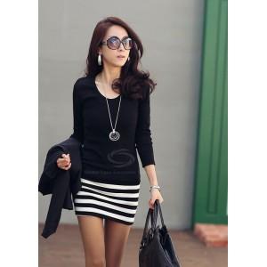 Ladylike Scoop Neck Stripes Skinny Long Sleeves Elegant Cotton Blend Dress For Women black