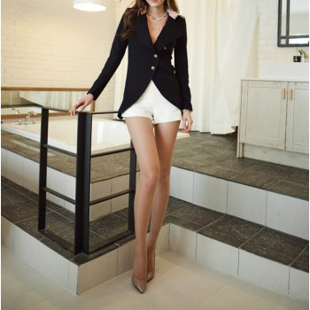 Ladylike Style Long Sleeves Irregular Solid Color Single-Breasted Coat For Women pink black