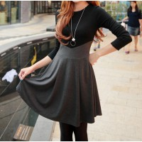 Ladylikle Round Collar Color Matching High Waist Long Sleeves Dress For Women gray