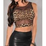 Leopard Pattern Enticing Scoop Neck Voile Splicing Backless Crop Top For Women