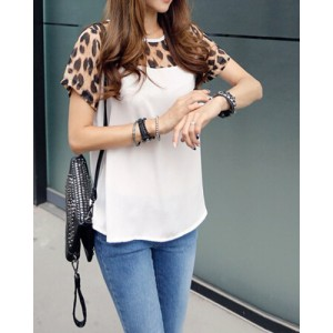 Leopard Print Splicing Fashionable Jewel Neck Short Sleeve Women's T-Shirt white