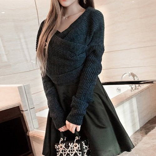 Long Sleeves Solid Color Asymmetric Stylish Sweater For Women ...