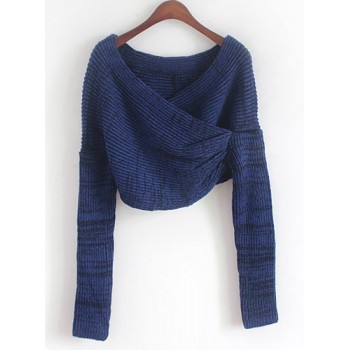 Long Sleeves Solid Color Asymmetric Stylish Sweater For Women white black blue