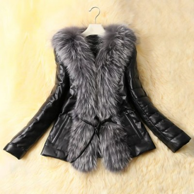 Long Sleeves Solid Color Faux Fur Collar Stylish Faux Leather Coat For Women black