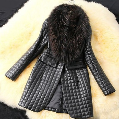 Long Sleeves Solid Color Faux Fur Collar Stylish Long Faux Leather Coat For Women black