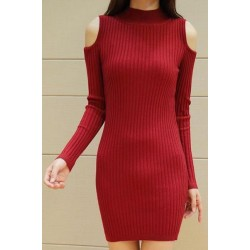Long Sleeves Solid Color Off-The-Shoulder Stylish Sweater Dress For Women red black