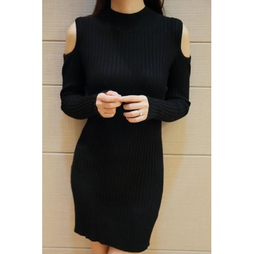 Long Sleeves Solid Color Off The Shoulder Stylish Sweater Dress For