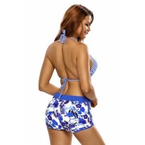 Nautical Stripes Halter Bikini Floral Boardshort Swimsuit