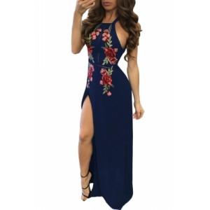 Navy Blue High Split Floral Embroidered Maxi Dress