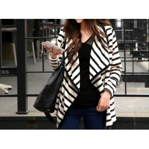New Arrive Turn-Down Neck Splicing Stripe Design Long Sleeves Women's Cardigan Coat stripes