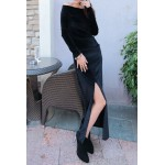 One-Shoulder Long Sleeves Solid Color Slit Stylish Dress For Women black