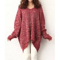 Plus Size Irregular Hem Color Block Long Sleeve V-Neck Pullover Sweater For Women red black