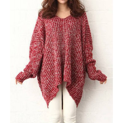 Plus Size Irregular Hem Color Block Long Sleeve V-Neck Pullover Sweater For Women red black