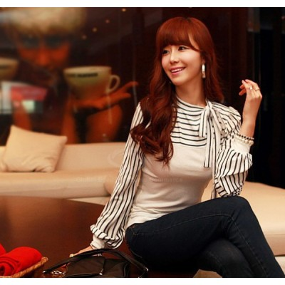 Polo Neck Stripes Long Puff Sleeve Cotton Casual Tops Blouses T-Shirt white