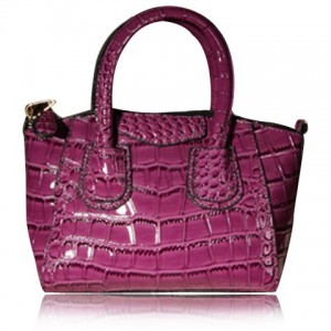 Retro Women's Tote Bag With Patent Leather and Alligator Fashioned Design purple black silver