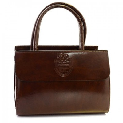 Retro Women's Tote Bag With PU Leather and Crown Design brown
