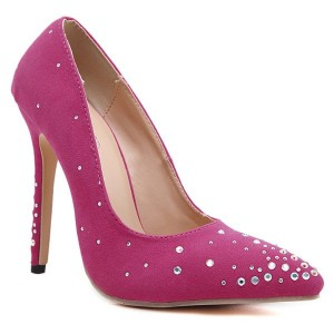 Rhinestones Pointed Toe Flock Pumps  Peach Red
