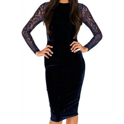 Round Neck Long Sleeves Lace Splicing Stylish Dress For Women