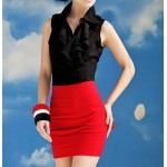 Ruffles Beam Waist Single-breasted Polyester Solid Color Blouse For Women black
