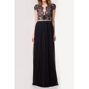 Scoop Neck Lace Splicing Backless Stylish Long Dress For Women black