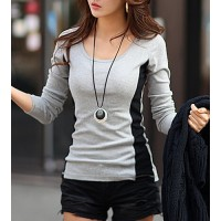 Scoop Neck Long Sleeves Casual T-Shirt For Women gray